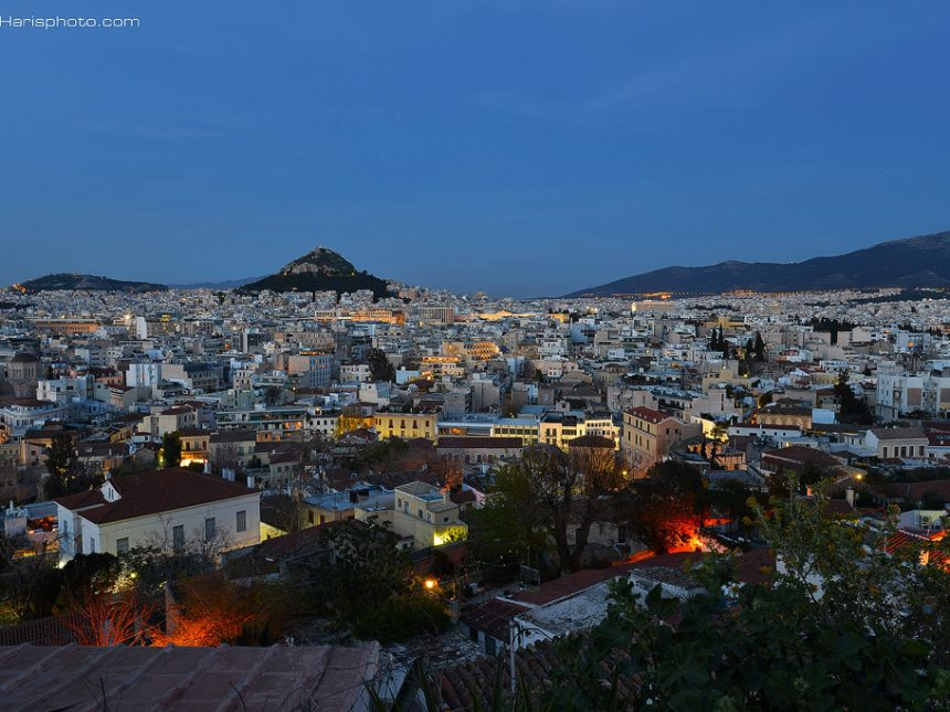 Panoramic view of Athens and Lycabettus hill