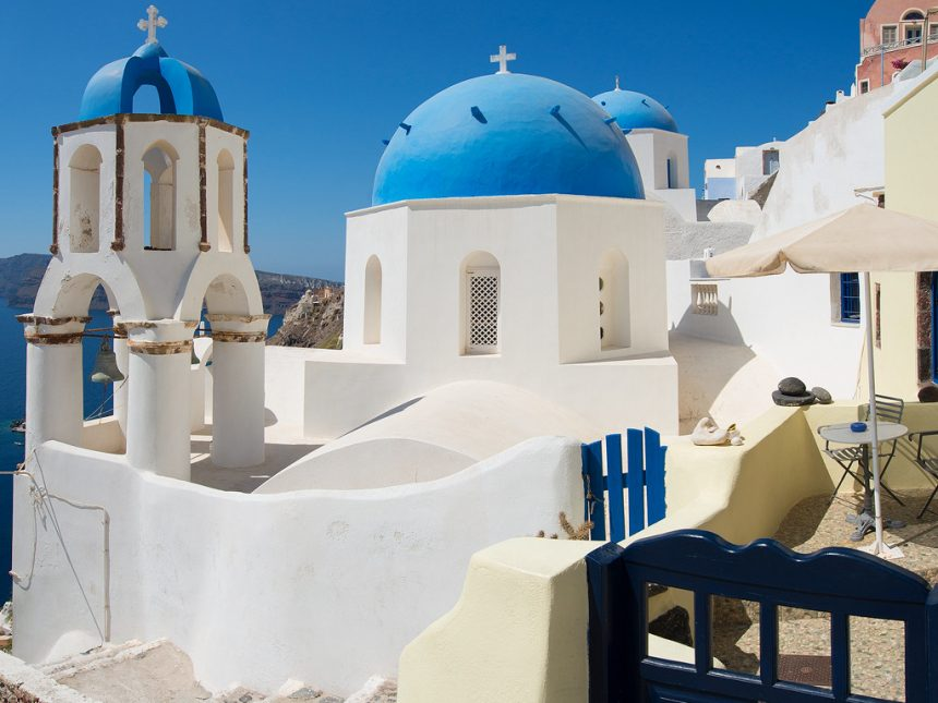 Blue domed churches at Oia village