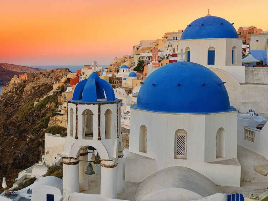 The blue domed churches at Oia in the morning