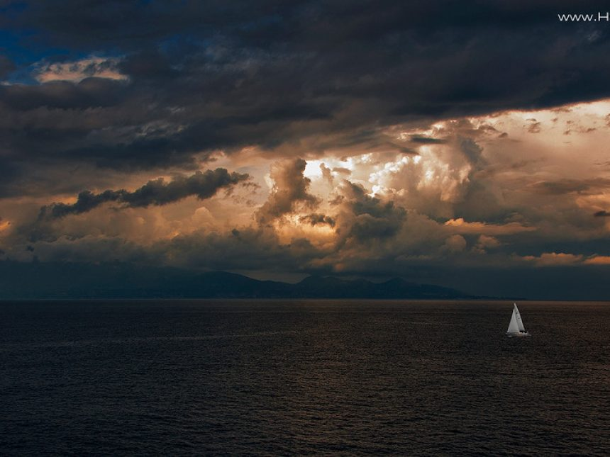 Storm and in the background Kefalonia island
