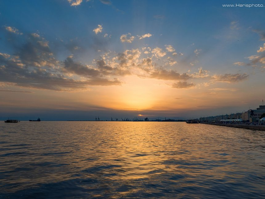 Sunset at Thessaloniki and in the background White tower