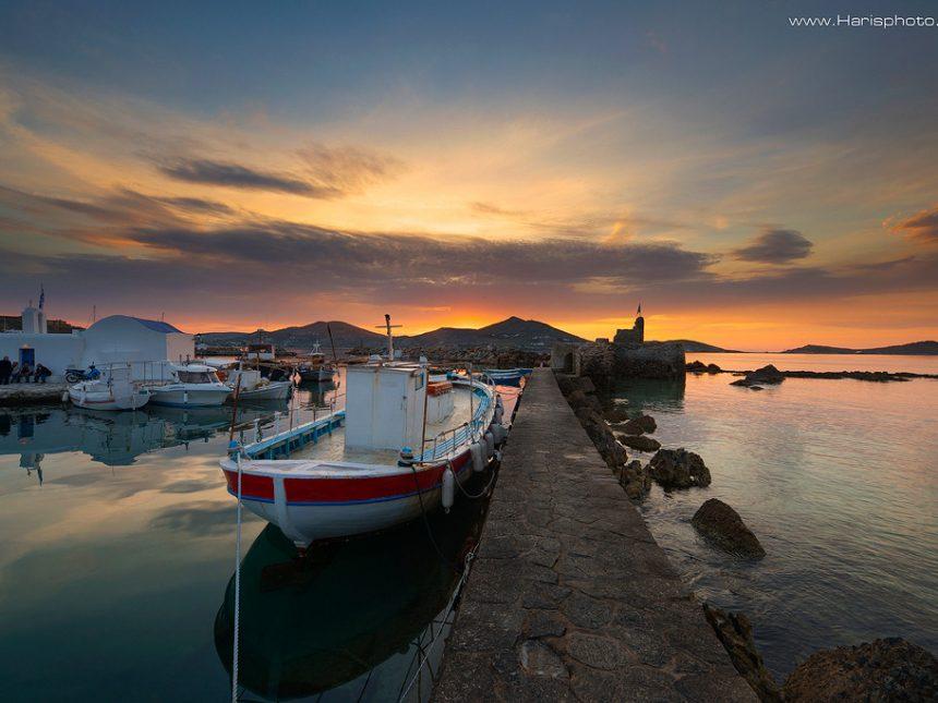 Sunset at venetian castle of Paros