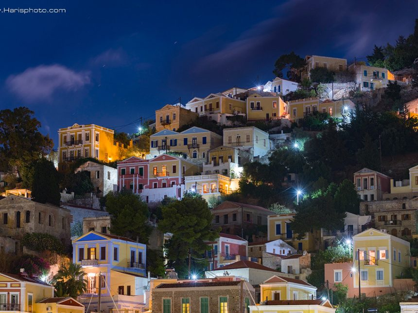 Colorful houses of Symi at night