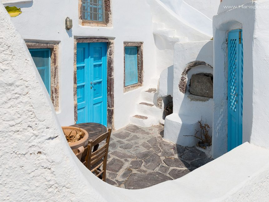 Traditional white and blue houses