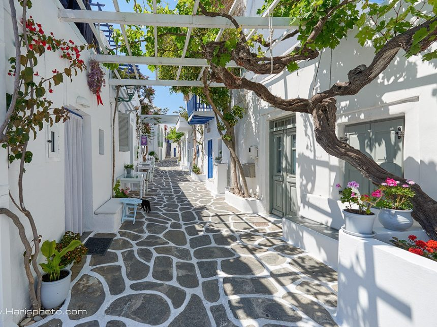 White streets of Naoussa  Paros