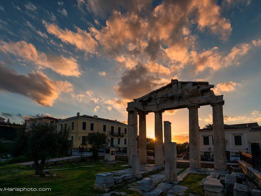 Sunset at ancient Roman market at Monastiraki